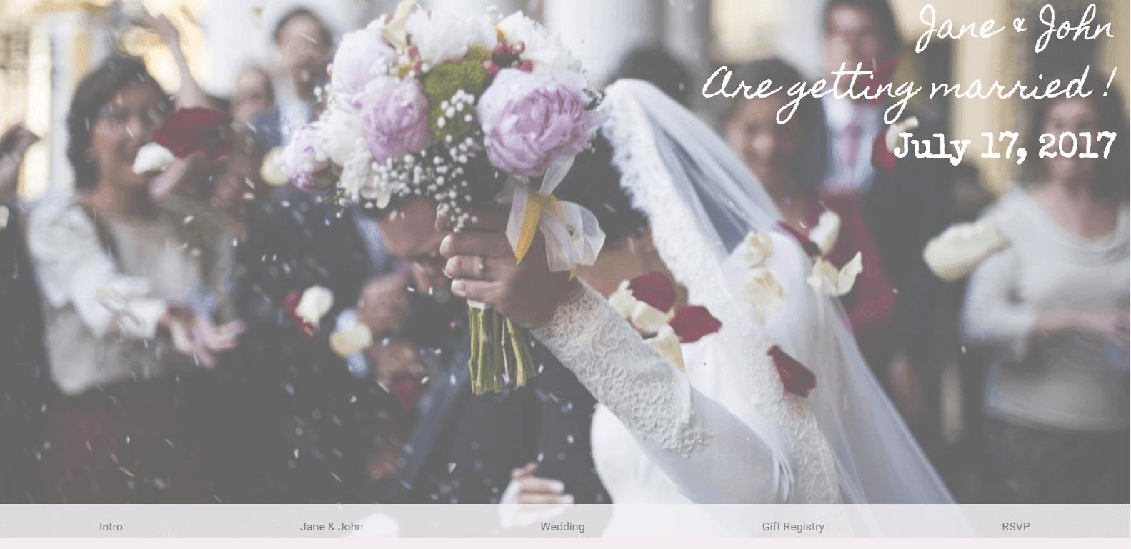 rsvp wedding site example by Saranya Moellers