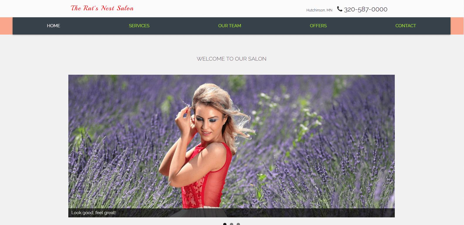 salon site example by Saranya Moellers